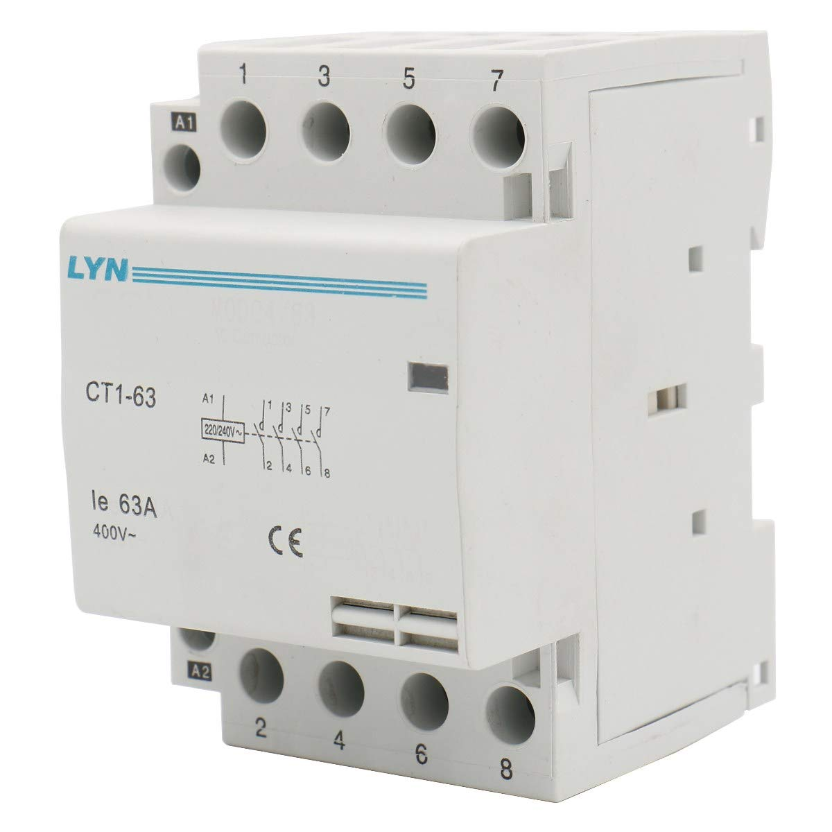 Heschen Household AC Contactor CT1-63 4 Pole Four Normally Open 220V/240V Coil Voltage 35 mm DIN Rail Mount