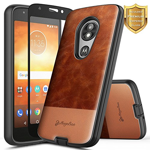 Moto E5 Play Case, Moto E5 Go/Moto E5 Cruise w/[Tempered Glass Screen Protector], NageBee Premium [Cowhide Leather] Heavy Duty Shockproof Hybrid Durable Case for Motorola Moto E Play 5th Gen -Brown