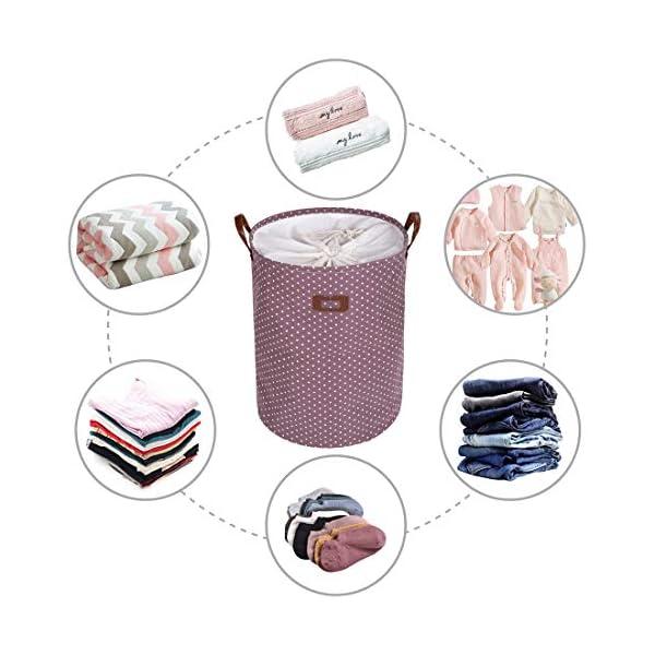 51Oziw3pfrL DOKEHOM 19-Inches Verdickte Faltbare Runde Lagerung Wäschekörbe, Baumwolle (Violett, L) EINWEG