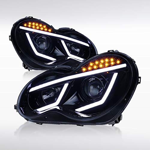 Autozensation For Mercedes Benz W203 C Class C230 C320 4matic Luxury Sport Glossy Black LED Projector Headlights Pair ()