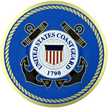 United States Coast Guard 2 Inch Etched Enameled Medallion Insert, Pack of 5