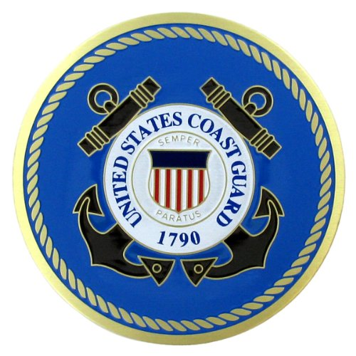 2 Inch Medallion Insert - United States Coast Guard 2 Inch Etched Enameled Medallion Insert, Pack of 5
