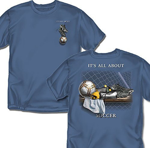 Coed Sportswear Soccer T-Shirt: It's All About Soccer, Slate Blue - Youth X-Large Coed Sportswear Football