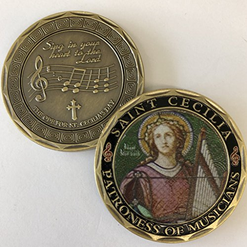St. Cecilia - Patron Saint of Musicians Commemorative Coin - Cast and Colorized with Beautiful Iron Plating & Ancient Bronze. Stunning Original one-of-a-Kind Catholic Church Patron Saint of Musicians Bronze Medal Us Mint
