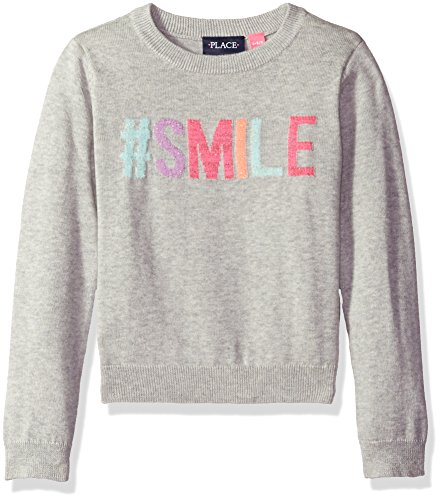 The Children's Place Little Girls' Intarsia Pullover Sweater, Smile Gray, S (5/6)