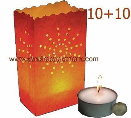 10 + 10 naranja de rayos de sol bolsas de papel farol + ...