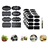 Chalkboard Labels Stickers 40 Reusable Labels for Jars Premium Quality Black Decorative Adhesive Stickers Pantry Storage Organizer Mason Jar Chalk Labels Gift Tags Classroom Organization + Pen