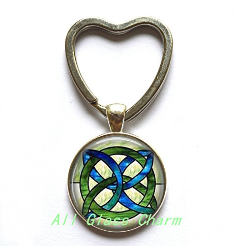 Charming Heart Keychain,CELTIC WEDDING Jewelry - Stained Glass Green and Blues Celtic Knot - Celtic Knot Heart Keychain - Irish Jewellery - Celtic Bridal (Charming Heart)