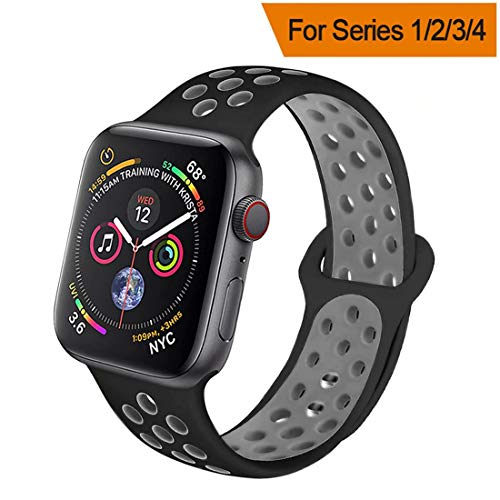 HILIMNY Compatible for Apple Watch Band 42MM/44MM, Soft Silicone Sports Replacement Compatible for iWatch Band Apple Watch Series 4/3 / 2/1, M/L, Black Cool Gray