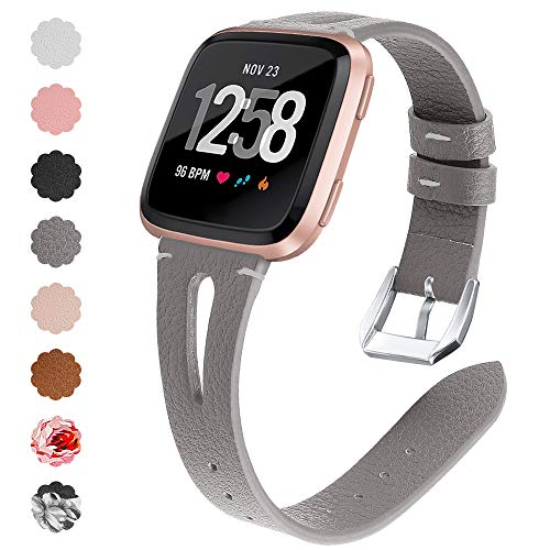 QIBOX Compatible with Fitbit Versa Bands, Soft Women Men Leather Bracelet Wristband Accessories Strap Compatible with Fitbit Versa Lite/Versa SE