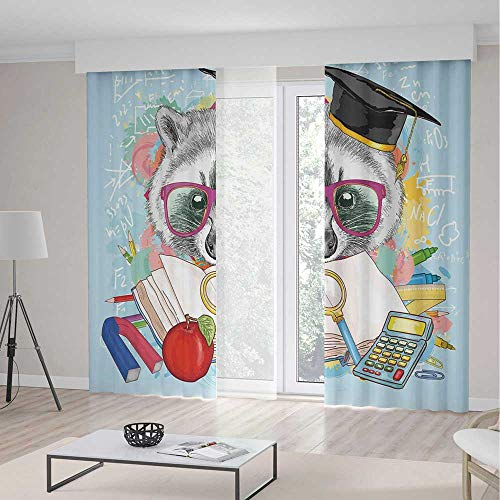 TecBillion Door Curtain,Kids for Living Room,Hipster Animal Student Raccoon with Graduation Cap School Education Study Classroom Decorative,141Wx106L Inches