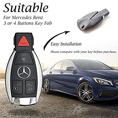 Vitodeco Leather Keyless Entry Remote Control Smart Key Case Cover with a Key Chain for Mercedes Benz (Black/Red): Automotive