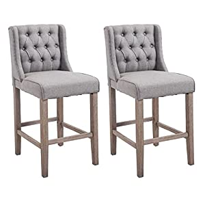HomCom 40″ Tufted Counter Height Bar Stool Dining Chair Set of 2