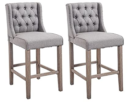 Amazoncom Homcom 40 Tufted Counter Height Bar Stool Dining Chair