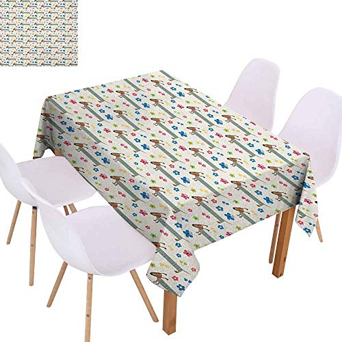 (Elegance Engineered Tablecloth Dog Lover Wiener Dog Cartoon Dachshund Puppy with Striped Pajamas Flowers and Butterflies Excellent Durability W70 xL102 Multicolor)