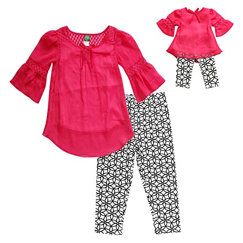 [Dollie & Me Little Girls' Peasant Legging Set 12 White/Black/Pink] (Peasant Outfit)