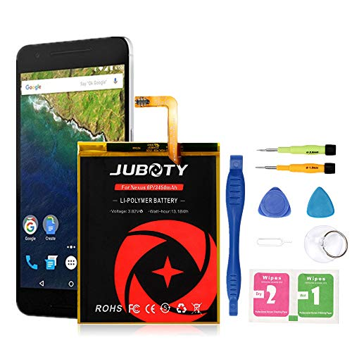 [Upgraded] Nexus 6P Battery Replacement, JUBOTY 3450mAh Li-Polymer Battery HB416683ECW for Huawei Google Nexus 6P H1511 H1512 with Repair Tool/Google Nexus 6P Battery(24 Month Warranty)