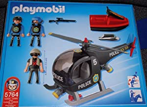 Amazon.com: Playmobil Police Helicopter with Jet Ski (5764): Toys