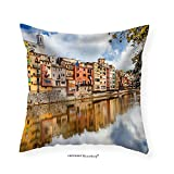 VROSELV Custom Cotton Linen Pillowcase Beautiful Canals of Girona Town - Spain - Fabric Home Decor 24''x24''