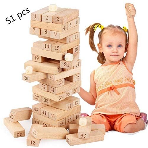 Sricam 51pcs Wooden Tumble Tower Game Building Blocks Stacking Toy Board Game for Kids and Adults