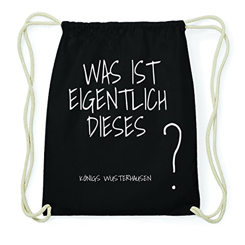 JOllify KÖNIGS WUSTERHAUSEN Hipster Turnbeutel Tasche Rucksack aus Baumwolle - Farbe: schwarz Design: Was ist eigentlich