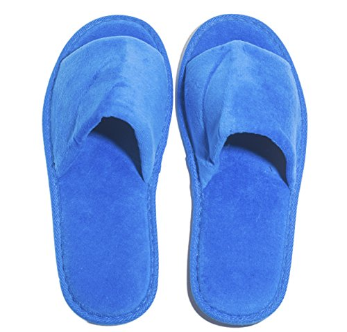 6 One Size Coloured Open Toed Terry Velour SPA Slippers (RoyalBlue) by NkBk (Image #1)
