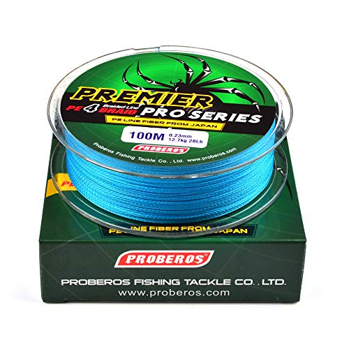 (SUNNYGO Fishing Braided Line PE Material 4 Strands 109 Yards,Abrasion Resistant Super Strong High Performance Braided Lines in Blue and Grey (Blue, 0.1mm/6LB))