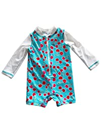Infant Baby Girls Sunsuit Cherry Zip Down Swimwear