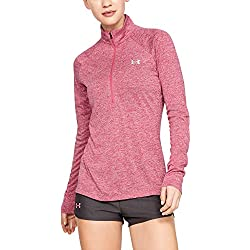 Under Armour Womens Tech Twist ½ Zip Long Sleeve Pullover, Impulse Pink (671)/Metallic Silver, X-Small