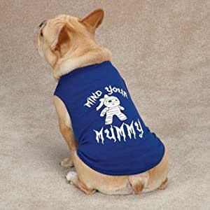 Casual Canine Mind Your Mummy Tee for Pets, Small/Medium, Blue