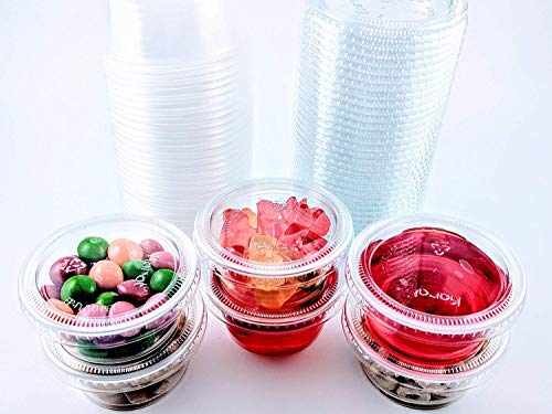 2oz Portion Cups with Lids, LIDS FIT GREAT Jello Shot Cups Salsa Cup Souffle Cups Sampling Cups Slime Cups (100)