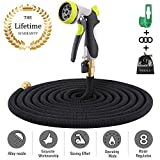 Reeple Expandable Garden Hose 25 50 75 100FT with 8 Function Spray Nozzle, Flexible Outdoor Water Hose Triple Nano Latex Core No-Kink 3/4 Solid Brass Fittings, Lightweight Expanding Hose