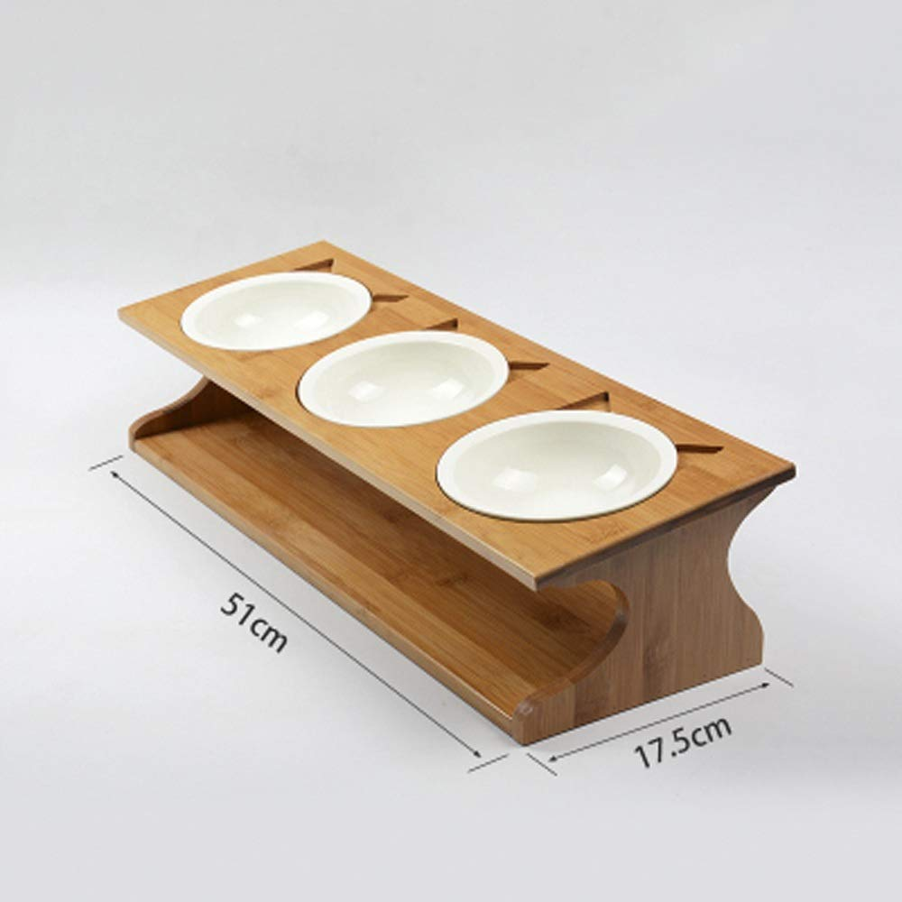C Solid Wood Cat Dining Table Ceramic Bowl Non-slip Solid Wood Cat Dish Rack Pet Bowl Dining Table Dog Bowl Ceramic Bowl ( Size   C )