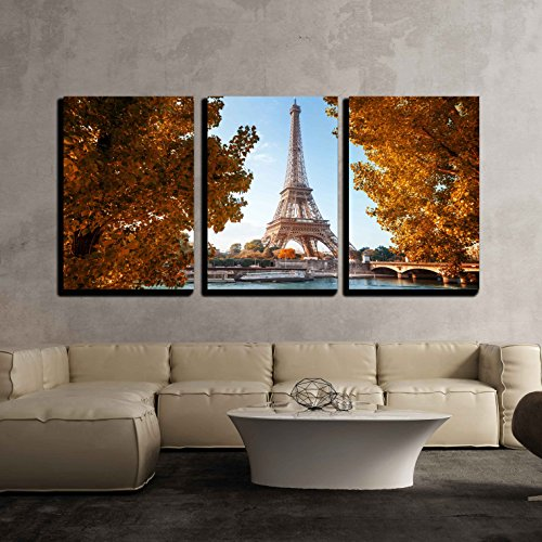 Seine in Paris with Eiffel Tower in Autumn Time x3 Panels