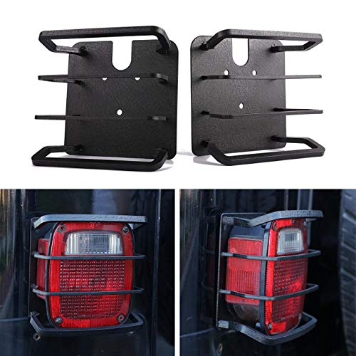 ALAVENTE 2 Pcs Exterior Rear Tail Light Guard Cover Taillight Protector Shade Skull Skeleton Shape Hollow Out for Jeep Wrangler 1987-2006 TJ/YJ