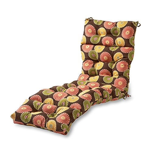 - Greendale Home Fashions Indoor/Outdoor Chaise Lounger Cushion, 72-Inch, Flower on Chocolate