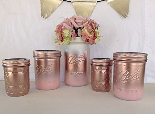 Set of 5 Rose Gold and Blush Pink Painted Mason Jars Centerpieces, Baby Shower, Rustic Wedding Supplies, Bridal, Shabby Chic Decorations