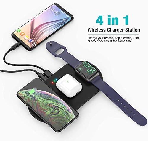WEHQ Stazione di Ricarica 5 in 1 Stazione di Ricarica Wireless Dock di Ricarica con Porta USB Compatibile per Apple Airpods/IWatch 4/3/2/1 / iPad