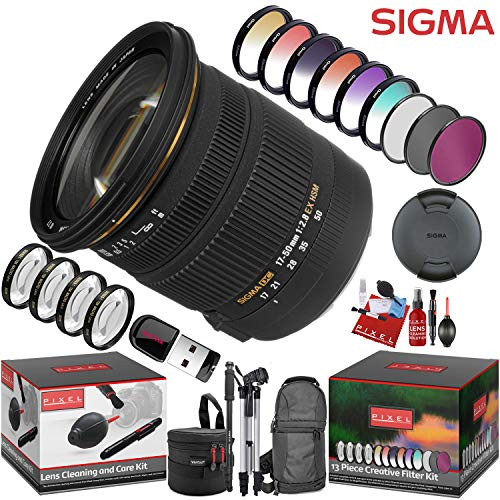 Sigma 17-50mm f/2.8 EX DC OS HSM Lens for Canon EF with 13 Piece Creative Filter Kit and a Heavy Duty Extra Padded Lens Case
