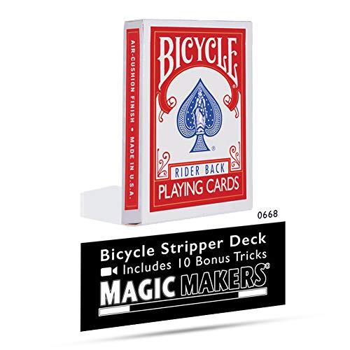 Magic Makers Bicycle Stripper Deck with 10 Bonus Tricks in Red - Tapered Magic Trick Deck