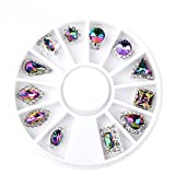 nails gems - Elevin(TM) Round Shape Rectangle Women Ladies 3D Decal Stickers Acrylic Nail Art Gems Crystal Rhinestones DIY Decoration Stamping Manicure (C)