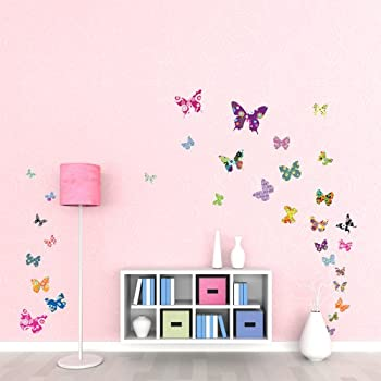Great Decowall DW 1201 38 Colourful Flower Butterflies Kids Wall Decals Wall  Stickers Peel And Stick