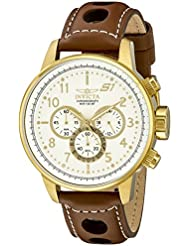 Invicta Mens 16011 S1 Rally 18k Gold Ion-Plated Watch with Brown Leather Strap