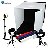 LimoStudio Table Top Photo Studio Shooting Tent Box Kit, Cellphone iPhone 6 5S 5C Galaxy S4 S3 Holder Camera Tripod with Double Head High Output Light, AGG1496