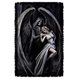 Trevco AS118 ANNE STOKES/DANCE WITH DEATH-WOVEN THROW-WHITE-48x80