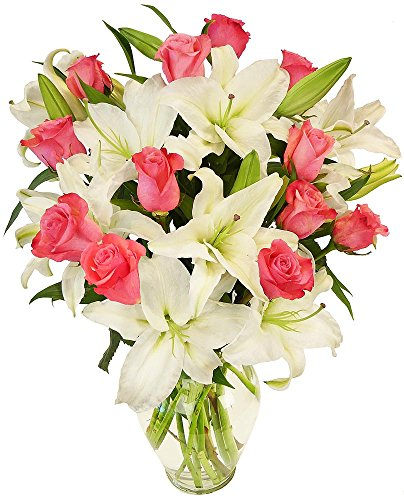 - Benchmark Bouquets Light Pink Roses and White Oriental Lilies, With Vase