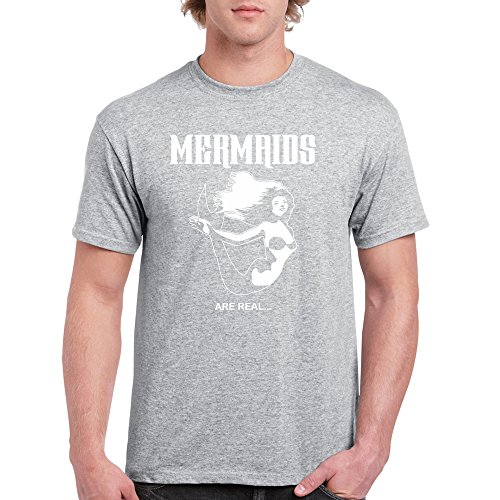 Long Beach Apparel Mermaids Are Real Mens T-Shirt Round Neck, Gy, XL