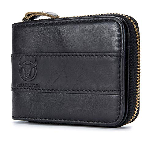Selighting RFID Blocking Genuine Leather Wallets for Men Vintage Zipper Bifold Credit Card Cases (One Size, Black)