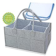 BABY DIAPER CADDY - Includes Waterproof Changing Pad Liner Mat, Suitable for Diapers, Wipes, Toys and Baby Essentials - Useful as a Storage Bin for Nursery and Organizer for Home and Car