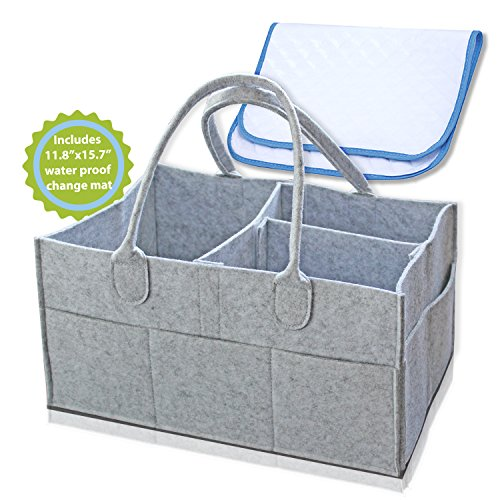 Baby Diaper Caddy - Includes Waterproof Changing Pad Liner Mat, Suitable for Diapers, Wipes, Toys and Baby Essentials - Useful as a Storage Bin for Nursery and Organizer for Home and Car by IntoHome Products